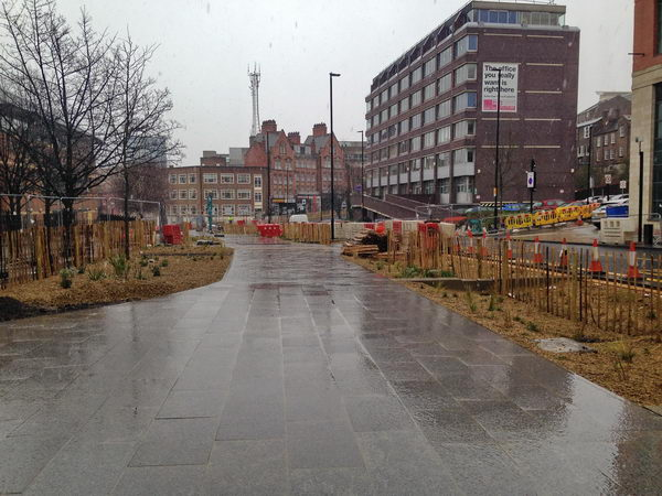 Swales and paving under construction at Europe's largest retrofit urban SuDS project in Sheffield