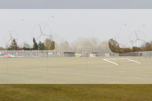 Playing field - wireframe view of turbines