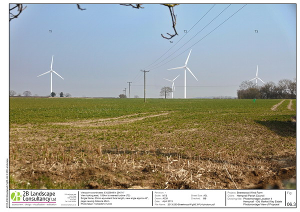 open view of turbines from village edge