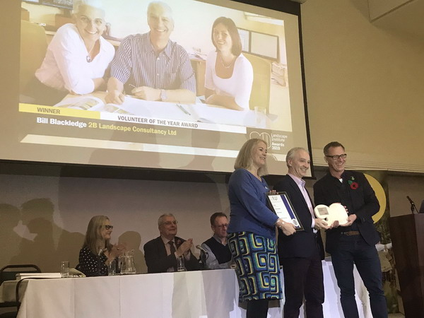 Bill Blackledge recieving the Landscape Institute Volunteer of the Year Award 2019 with president of the LI Adam White and Romy Rawlings
