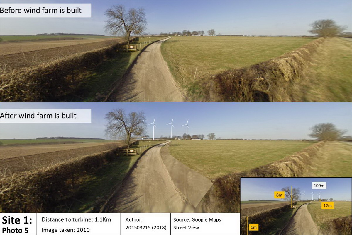 Basic wind farm photomontage for my Geography Advance GIS Module