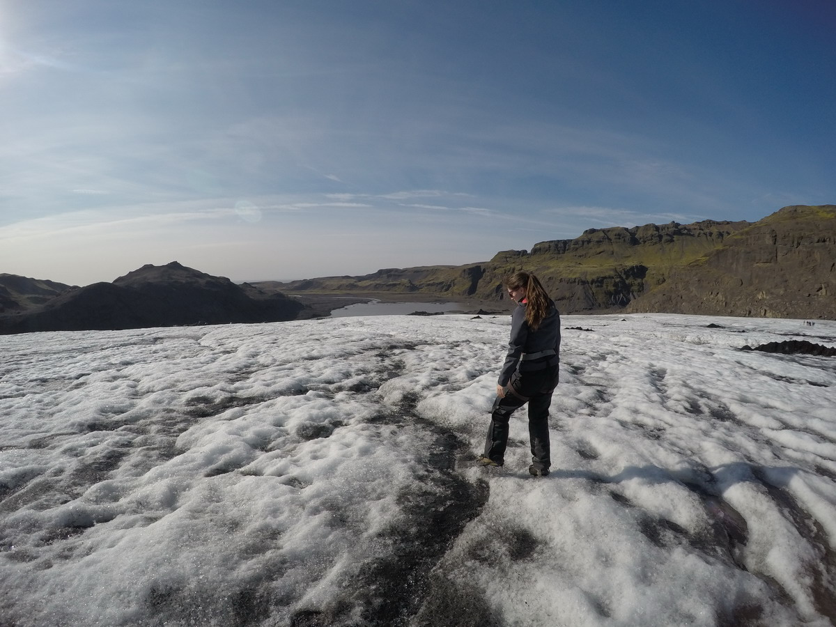 Walking across a glacier in Iceland