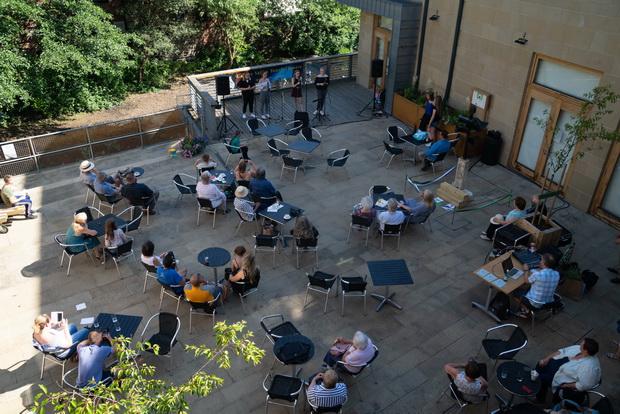 Rain garden planter launch party, seen from balcony (credit: Matt Radcliffe Photography).