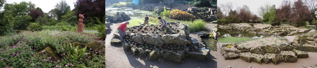 Photos of the rockery, before, during planting and first season after planting.