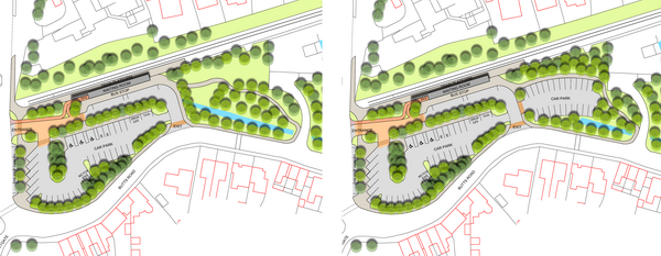 Design option 1 with and without the car park extension.