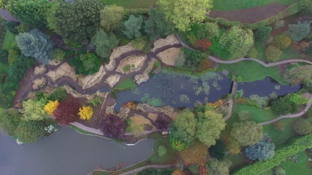 Screenshot of Drone Footage over Burnby Hall Gardens